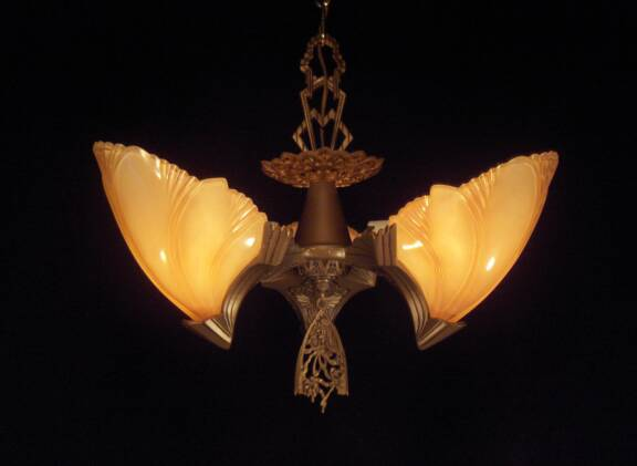 Bat Wing 3 Bulb Slip Shade Fixture Vintage Lighting And