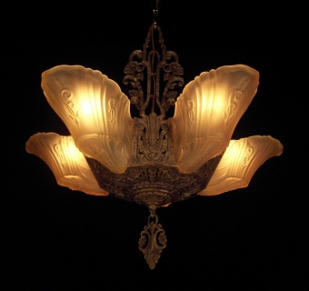Markel slip shade chandelier vintage lighting and fan shoppe this website was designed and created by teresa glandon vintage lighting and fan shoppe aloadofball Gallery