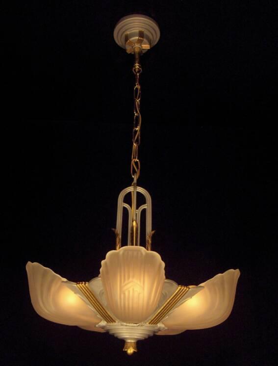 Markel Chevron Slip Shade Chandelier Vintage Lighting Fan Pe